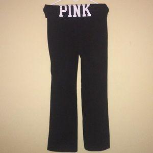 PINK Solid Black Leggings